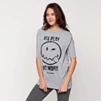Smiley World T-Shirts For Women, Grey 12 UK