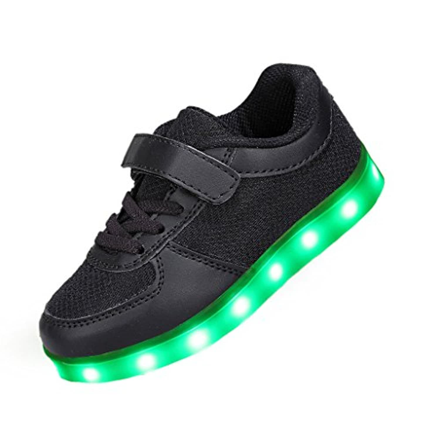 SAGUARO® 7 Colors Unisex-child LED Light Up Sport Running Shoes Luminous Flashing Glow Sneakers Student Dance Boots, Black