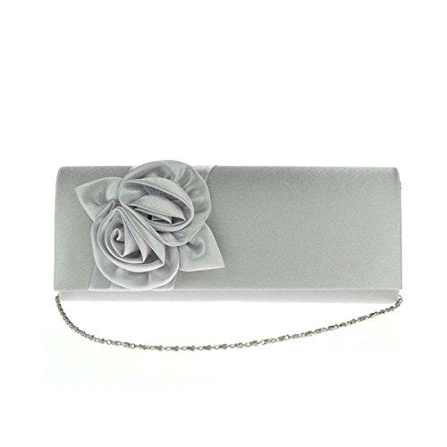 Donne Roses Borsa Elegante Cerimonia Nuziale Del Sacchetto Di Sera Sacchetto Silver
