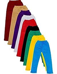 IndiWeaves Girls Cotton Super Soft Full Ankle Length Leggings (Pack of 8)