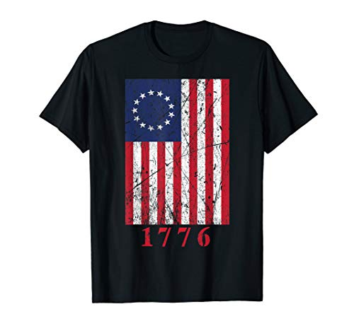 Betsy Ross Shirt 4th Of July American 1776 Flag Tshirt Retro T-Shirt -