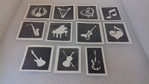 Glas-harfe (Dazzle Glitter Tattoos 25 x Musik Themen Schablonen für Radierung auf Glas Gitarren Noten Violine Saxophon Klavier Harfe)