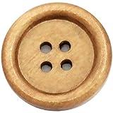 Holzknöpfe 50 Stück 25mm 4-Loch rund Hellbraun Vierloch Knopf