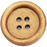 Handarbeit-Lieblingsladen 50 Stück Holzknöpfe Muster 20mm rund Hellbraun Knopf Knöpfe Bastelknöpfe Wood