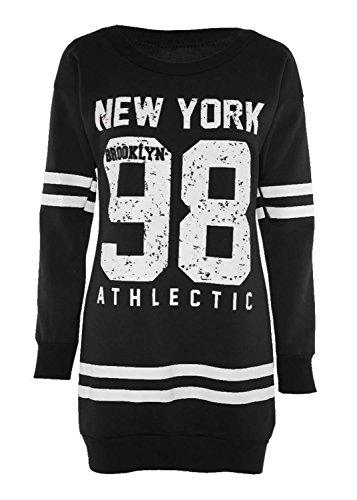 Chocolate Pickle® Neu Frauen Plusgröße Gedruckt Sweatshirt Jumper Mini Tops 36-50 98 Newyork Black