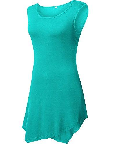Moollyfox Girocollo Orlo Irregolare Maniche Gilet Shirt Top Da Donna Erba Verde