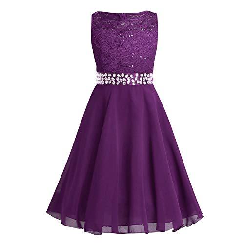 enmädchen Chiffon Kleid mit Spitze Ärmellos Prinzessin Kinder Kommunionkleid Geburtstag Festzug Abendkleid Brautjungfern Kleid Hochzeit Ball Partei Kleider Violett 11-12 ()