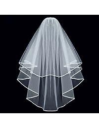 Elegante Simple doble cinta borde novia boda velo con peine (color blanco)