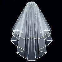 Semplice ed elegante doppio nastro bordo velo da sposa con Pettine (Bianco)
