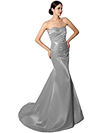 Clearbridal Womens Strapless Evening Dresses Beaded Ruched Pleats Bodice Long Prom Gown SD010