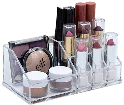 House of Quirk Cosmetic Make Up,Acrylic Lipstick, Nail Paint Organizer with 9 Sections (Clear,Medium)