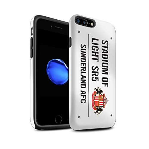 Offiziell Sunderland AFC Hülle / Glanz Harten Stoßfest Case für Apple iPhone 7 Plus / Weiß/Gold Muster / SAFC Stadium of Light Zeichen Kollektion Weiß/Schwarz