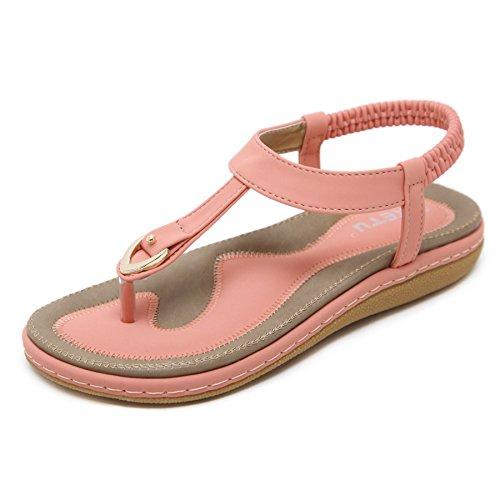 Damen Sommer Sandalen Böhmische Zehentrenner Sommerschuhe Frauen Flach Outdoor Schuhe,Rosa 37