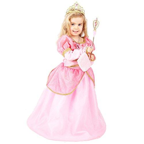 Traumhaftes Rosa Prinzessin Mädchen Kleid - Hochwertiges Kostüm Set mit Diadem, Ohrringen, Tasche, Zepter und Halskette - für 6-7 Jahre alte Kinder Größe 116-122 - Prinzessin Peach Kostüm Mädchen