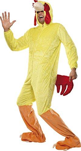 Smiffys Unisex Huhn Kostüm, Jumpsuit mit Kapuze, Größe: M, 32920