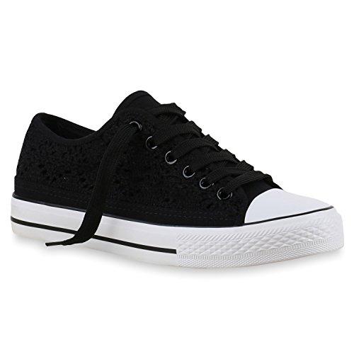 Damen Sneakers Spitze   Sneaker Stoffschuhe   Sportschuhe Basic   Freizeit Schuhe Schwarz