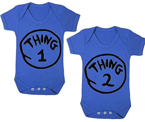 Cosa 1Cosa 2bebé Grow Funny Gemelos Body chaleco (2unidades), color azul azul azul Talla:3-6 meses