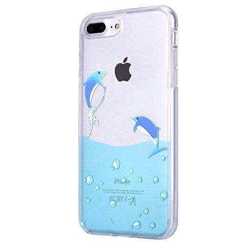 iPhone 7 Plus Hülle,SainCat iPhone 7 Plus Silikon Hülle Ultradünn Weich Transparent Plastik Handyhülle Gel Combo Schutzhülle [Kratzfeste, Scratch-Resistant] Ultra Slim Dünn Kristall Handytasche Weich  Delphine schwimmen