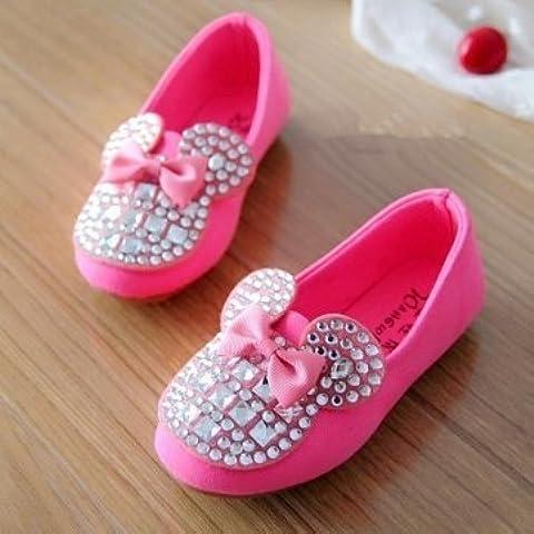 Scarpe di alta qualità, per bambine, con fiocco e strass,