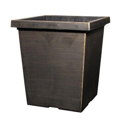2-x-15l-black-bronze-large-plant-pots-indoor-outdoor-garden-tall-plastic-planters