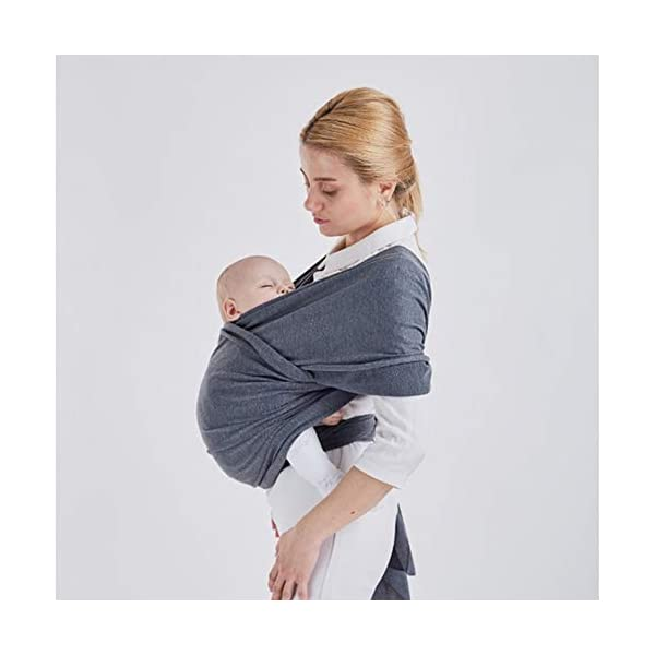 Baby Wrap Carrier Baby Carrier Outdoor Infant Carrier Portable Baby Wrap Hands Free Babies Carrier Wrap Baby Shower Gift Dark Grey TrifyCore USING: Easy to use for new baby wearing moms! BENEFIT: The right amount of elasticity also keeps your baby safe and snug in the wrap without having to constantly readjust the wrap. FUNCTION: Disperses baby's weight,relieve mother's pressure of shoulder, waist and abdomen. 5