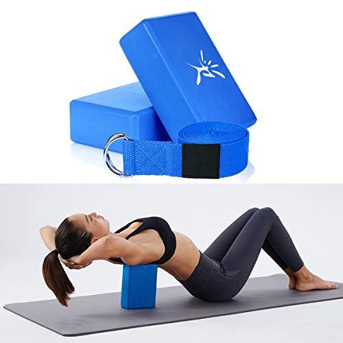 IVIM Lot de 2 Blocs de Yoga en Mousse Pilates et 1 PC de Ceinture de Yoga avec Anneau D pour Sa Fabrication