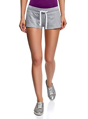 oodji Ultra Damen Jersey-Shorts Basic, Grau, DE 40 / EU 42 / L