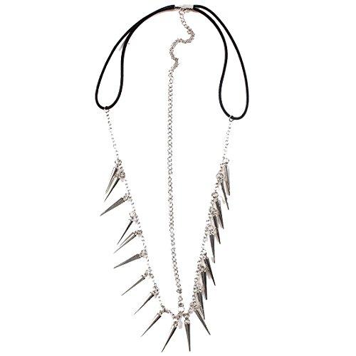 QIYUN.Z Punk Rock Spiky Rivet Wei?Goldkette Stirn-Haar-Stirnband Haarband Strand Haargummis Haarklammern Haarkrallen Spinnen Haarspangen Clips