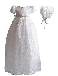 Cinda Vestido de bautizo largo de encaje de bebé con bonete