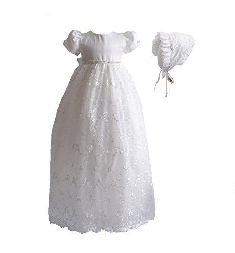 Cinda Baby-Mädchen-Spitze-langes Taufkleid mit MützeElfenbein 68-74