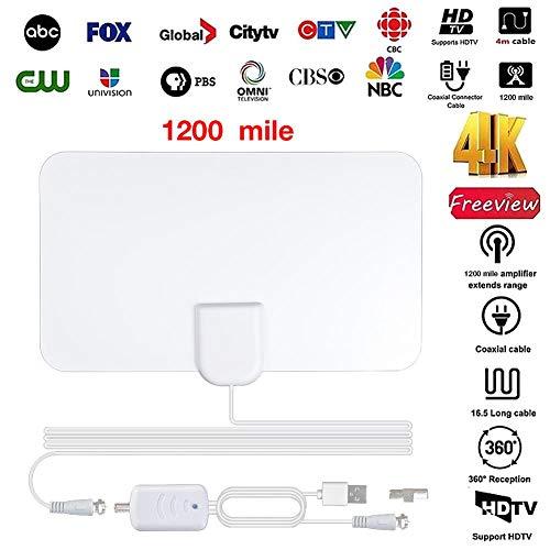 liuxi9836 TV-Antenne Verstärkte Digital-HDTV-Antenne für den Innenbereich mit 1200 Meilen Reichweite und 4K HD1080P DVB-T-DVB-T-Fernseher