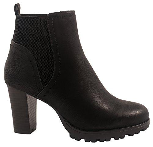 Elara Ankle Boots | Trendige Damen Stiefeletten | Blockabsatz Plateau Wildlederoptik Schwarz 38