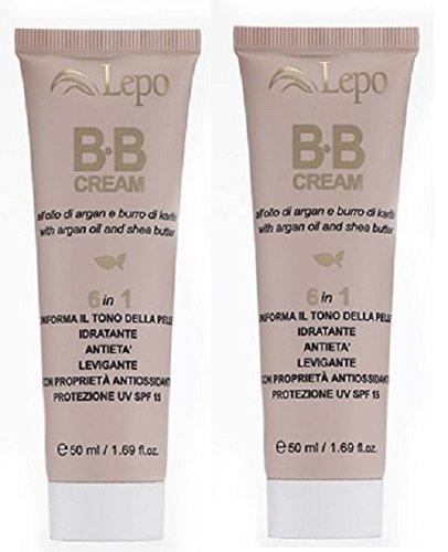 Lepo - BB Cream Moyen Foncé 2 boîtes de 50 ml N.2 Hydratant, protège contre les UV et uniformise le bleuissement