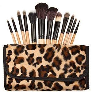 Leopard Pattern Ensemble De 12 Maquillage Pinceaux - Poils En Nylon, Virule En Aluminium, Manche En Bois Naturel, Étui En Cuir [ARTUROLUDWIG]
