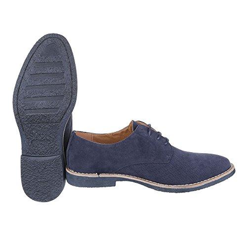 Ital-Design Budapester Stil Herrenschuhe Oxford Blockabsatz Schnürer Schnürsenkel Business-Schuhe Blau