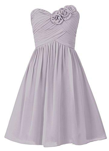 Dresstells, robe courte de demoiselle d'honneur sans bretelles col en cœur avec fleurs Blanc
