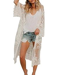 c933b17dd8 ❤️YunYoud❤ Damen Bohemien Strand Kimono Strickjacke Frau Einfarbig  Perspektive Lange Ärmel Übergroß Lange
