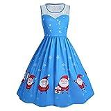 SEWORLD Weihnachten Damen Weihnachtsmann Abendkleid Vintage Weihnachten Party Kleid Mesh Brautkleid Retro Cocktailkleid Rockabilly Minikleid Kleidung Faltenrock(X8-blau,EU-38/XL)