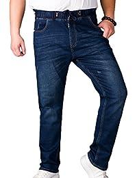 Sentao Casual Pantaloni Di Jeans Da Uomo Oversized Jogger Pantaloni Con  Elastico In Vita a83fb8de634