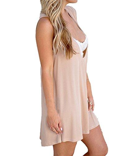 Auxo Femme Sexy Lâche Dress de Plage épaule Tunique Tops Maxi Gilet Sans Manches Mini Robe Abricot Rose