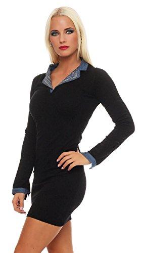 10892 Fashion4Young Damen Strick Kleid Langes Strickkleid Langarm Kragen 2-schwarz