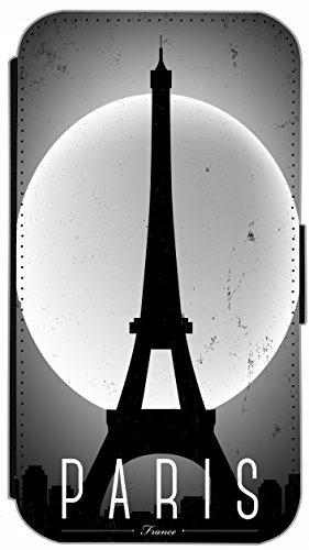 Flip Cover für Apple iPhone 5 5s Design 394 Eifelturm Paris Frankreich bei Nacht Blau Gelb Hülle aus Kunst-Leder Handytasche Etui Schutzhülle Case Wallet Buchflip (394) 414