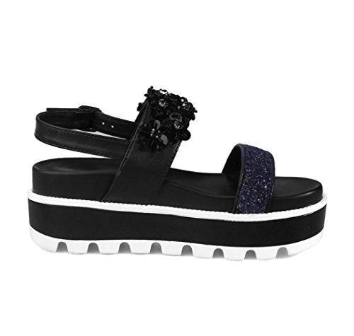 YCMDM Chaussures de vente chaude Nouveautés Muffins de femmes d'été avec chaussures Sandales décontractées épaisses Sandales à bouche de poisson Black