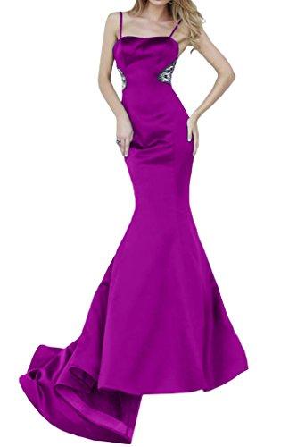 ivyd ressing Femme Spaghetti Mermaid Long Satin Lave-vaisselle Vêtements Prom robe robe du soir Fuchsia