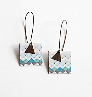 Boucles d'oreilles, Pendantes fantaisie, Géométrique, Bleu et Noir, Bronze
