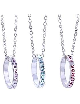 Best Friends Forever BFF Ring Charms - Silberfarbton - 3-in-1 Mädchen Halskette-Anhänger Geschenk-Set