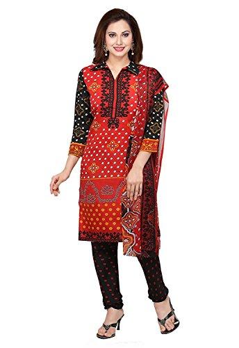 Shree Rajlaxmi Sarees Women's Red Printed Poly Cotton Regular Wear Unstitched Dress Material (rl-red-bandhani)