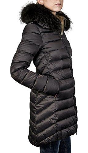 SOVENTUS Damen DAUNENMANTEL mit ECHT-FELL PELZ WINTERMANTEL 90% Daunen dunkel grau Gr.XL (Echter Pelz-jacken)