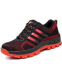 Aizeroth-UK Hombre Mujer Zapatillas de Seguridad con Punta de Acero Antideslizante TranspirableS3 Zapatos de Trabajo Comodas Calzado de Trabajo Deportivos Botas de Protección Industria Construcción