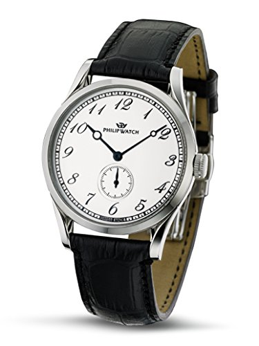 Philip Sunray Men's Quartz Watch with White Dial Analogue Display and Black Leather Strap R8211180045